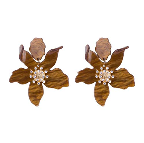 (Miweel Bohemian Luxury Oversize Resin Big Flower Earrings For Women Stainless Steel Crystal Jewelry (Brown))