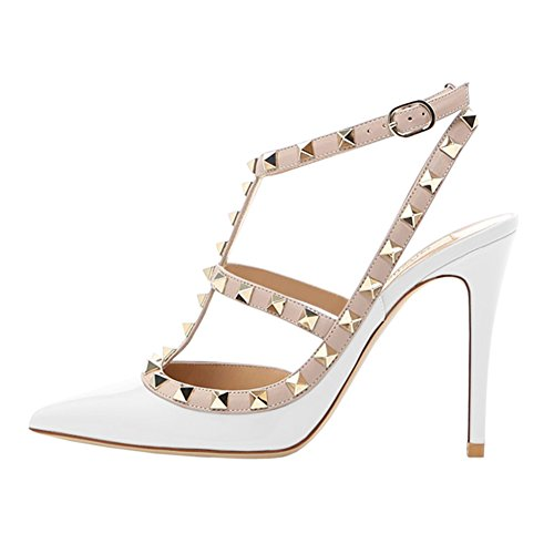 June in Love Womens Heels Strappy Sandals Rivets Studs Middle Thin Heels Sexy Sandals Patent-White US7