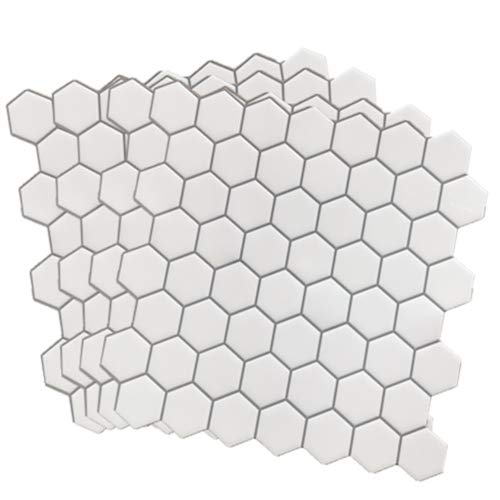 Crystiles 12in x 12in Vinyl Peel and Stick Backsplash Tile, Hexagon White, Pro Series Thicker Version, 4-Sheet Pack
