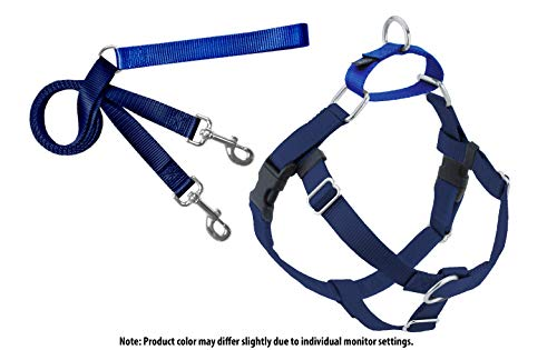 2 Hounds Design Freedom No-Pull Dog Harness with Leash, Large, 1-Inch Wide, Navy