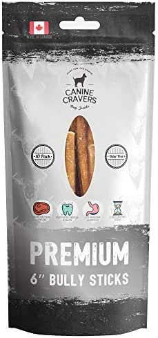 Canine Cravers Bully Sticks – 100 Natural, Free Range, Grass Fed Beef – Made in Canada – Odor-Free, Long Lasting – Rawhide Free Dog Chews, Perfect High Protein – Low Fat Dental Care