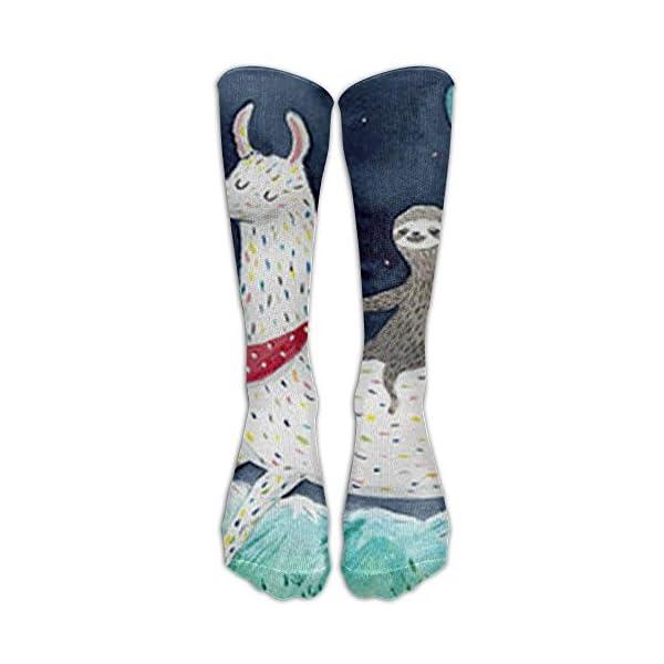 New Sloth Riding Llama Painting Athletic Tube Stockings Women'S Men'S Classics Knee High Socks Sport Long Sock One Size -