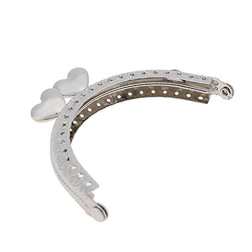 Demiawaking 8,5 cm Halbrunde Metall Geldbörse Rahmen Herz Kuss Schließe Griff DIY Zubehör (Silber) Silber