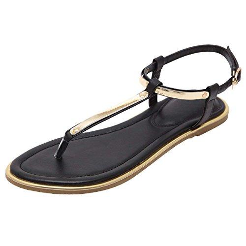 Womens Roman Gladiator Sandals Flats Thongs Black 7 US