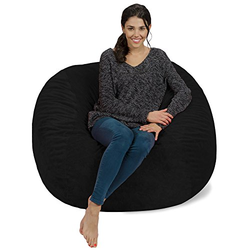 Chill Sack Bean Bag Chair: Giant 4' Memory Foam Furniture Bean Bag - Big Sofa with Soft Micro Fiber Cover - Black ()