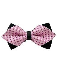 Susenstone® Unisex Classic Wedding Party Feast Adjustable Bow Tie (Pink)