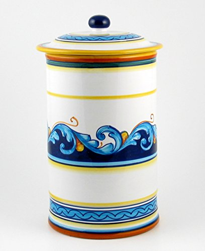 Hand Painted Italian Ceramic 11-inch Canister Geometrico S12 - Handmade in Deruta by Eugenio Ricciarelli