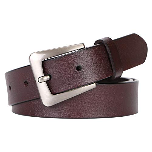 Brown Women Leather Belt for Jeans Dress,Western Designer Belts for Women for Casual and Dressy Wear By SUOSDEY