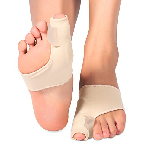 Gel Pad Bunion Protector Sleeves Corrector with Gel Toe Separators Spacers Straightener and Spreader 2 Booties for Hallux Valgus Bunion Pain Relief Big Toe Alignment (1 Pair)