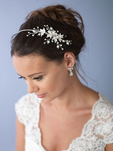USABride Floral Bridal Headpiece Silver Tone Leaf Headband, Simulated Pearl Side 3160
