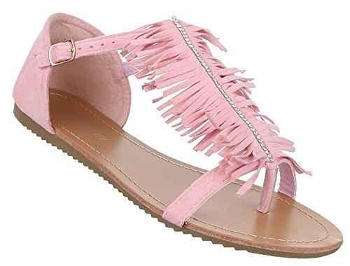 Damen Sandalen offen Riemchen Sommer Strand Schuhe Zehentrenner schwarz beige camel rosa 36 37 38 39 40 41 Pink
