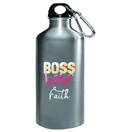 Boss Babe Faith Girl Name Coworker Office Work Gift - Water Bottle by My Family Tee