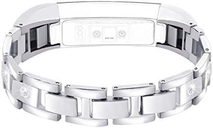 Bracelet Fitbit Alta HR Remplacement Réglable Montre Connectée Bracelet Femme Fitbit Alta HR Élégant sangle Métallique Rhinestone Sport Band Straps ...