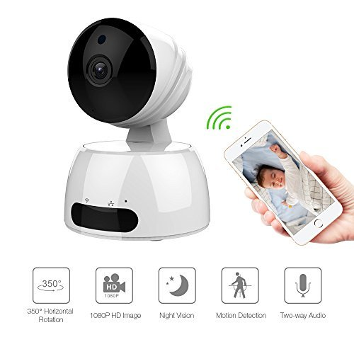 Wireless Security Camera, Baby/Pets/Elderly Monitor WiFi 1080P HD Indoor Home Video Surveillance Camera System with Motion Detection, Night Vision, 2 Way Audio -White
