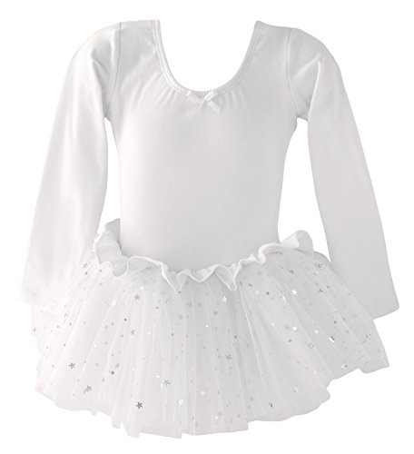Dancina Leotard Sparkle Tutu Dress Long Sleeve Soft Dance Outfit for School Play Events 5 White (Three Little Angels All Dressed In White)