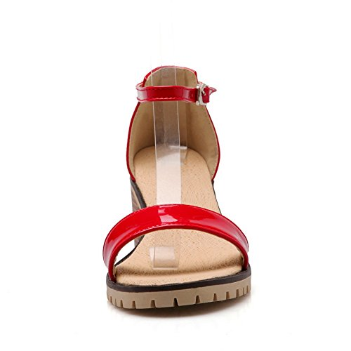 BalaMasa Womens Chunky Heels Metal Buckles Peep-Toe Urethane Sandals Red f7Aklt