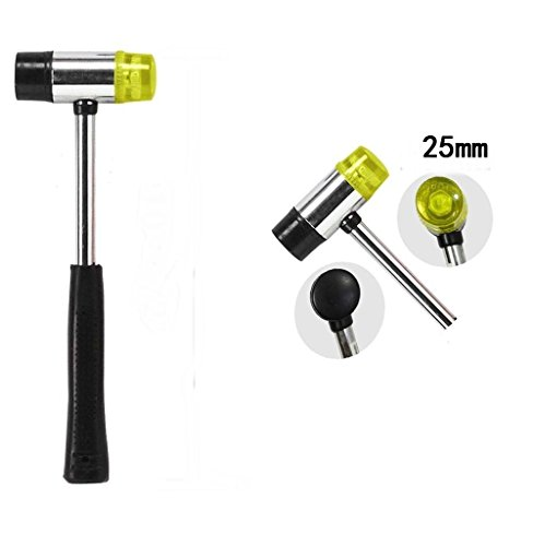 AKOAK 25mm Dual Head Nylon Rubber Hammer Jewelers Metal Mallet,Multipurpose, Doublesided & Lightweight Mallet is Perfect for DIY Projects ()
