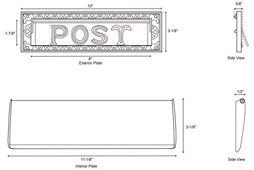 Naiture 10'' Solid Cast Brass Heavy Duty''Post'' Mail Slot Oil Rubbed Bronze Finish