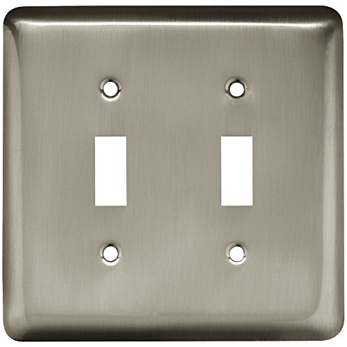 Double Nickel Switch Satin (Franklin Brass W10246-SN-C Stamped Round Double Toggle Switch Wall Plate/Switch Plate/Cover, Satin Nickel)