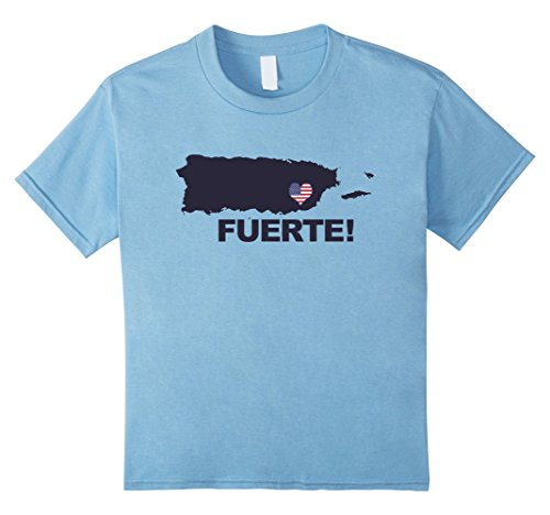 Kids Fuerte T-Shirt Strong Support for Puerto Rico Unisex Top Tee 12 Baby Blue (Color Fuertes)
