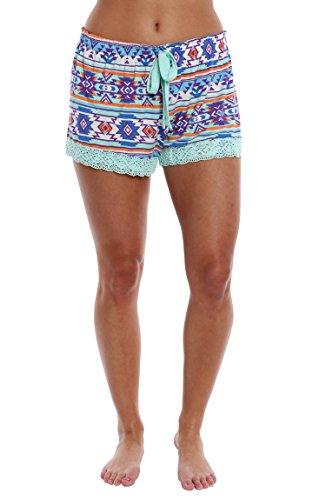 WallFlower Luxury Soft Women Sleepwear Printed Pattern Short With Crochet Trim Loungewear For Ladies - Aztec Geo - Soft Mint, (Aztec Printed Shorts)