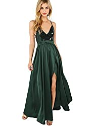 Satin Deep V Neck Backless Maxi With Sequins