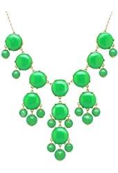 Color Bubble BIB Statement Fashion Necklace -Deep Green