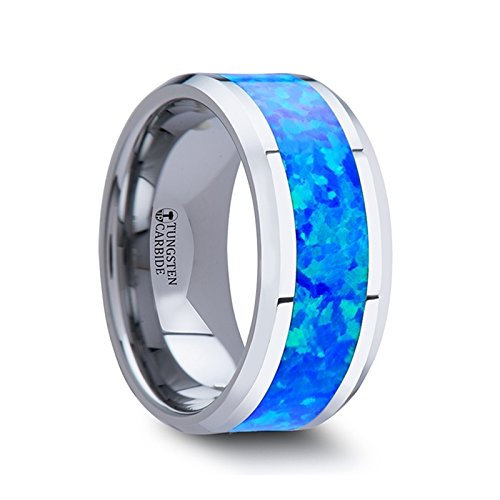 QUASAR Tungsten Wedding Band with Blue Green Opal Inlay - 10 mm