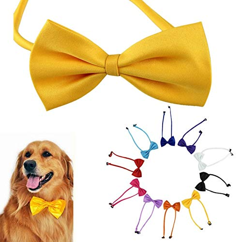 m·kvfa Handmade Dog Cat Bow Tie Adjustable Bow Tie Collar Random Color Puppy Grooming for Christmas Party Ribbon Soft Collar