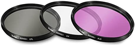 Samsung JVC FLD Filter Kit for Digital Cameras and Camcorders Nikon Panasonic Canon Sony Olympus 58mm Vivitar 3 Piece UV Fujifilm CPL Tronixpro Microfiber Cloth /& More Pentax