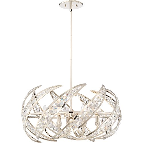 Quoizel PCCN2824PK Crescent Modern Crystal Pendant Lighting, 6-Light, 360 Watts, Polished Nickel (13