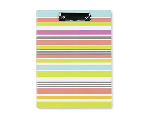"Blue Sky Clipboard Folio, Letter Size Paper Writing Pad Included, Hard Cover, 9.5"" x 12"", Stripes Design"