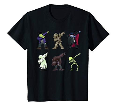 Kids Dabbing Skeleton Shirt Halloween Monsters Dracula Ghost Kids 8 Black ()