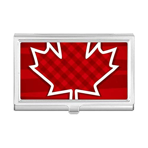 Canada Day 4th of July Square Maple Leaf Business Card Holder Case Wallet