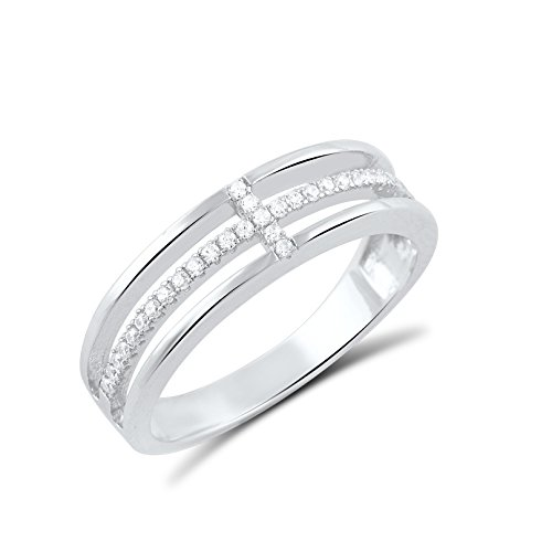 Sterling Silver Cz Sideways Cross Ring - Size 4 (Ring Silver Cross Sterling)