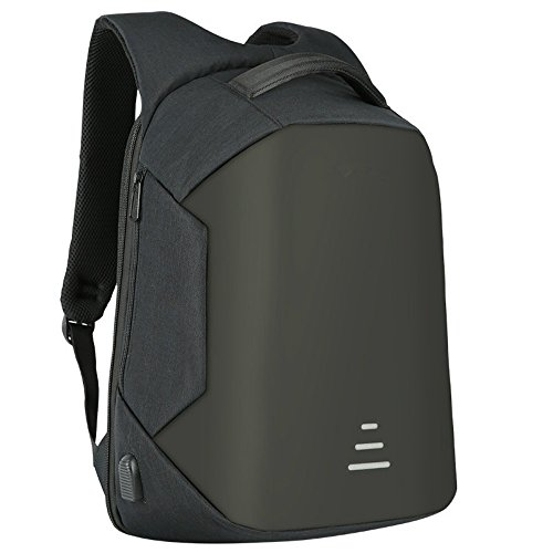 HS Magnet Anti Theft Business Laptop Backpack with USB Charging Port headphone Port,Slim Travel Backpack Fits to 15.6 Inch Computer,BLACK by HS Magnet