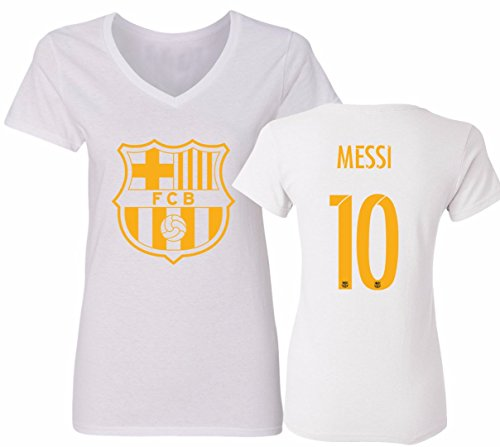 accc2d92d79 Soccer-International Clubs Fan Apparel   Souvenirs Barcelona Shirt Lionel  Messi Soccer Futbol Jersey Womens V-Neck  10 T-Shirt