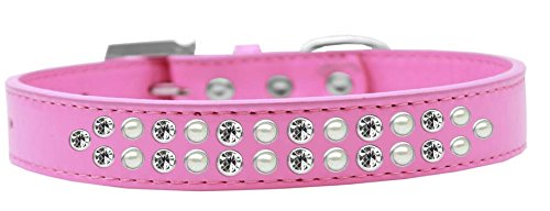 Mirage Pet Products Two Row Pearl and Clear Crystal Bright Pink Dog Collar, Size 20 by Mirage Pet Products