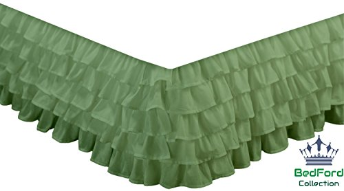 BedFord Collection Egyptian Cotton 750TC 1 Piece Multi Ruffle Bed Skirt Full-XL Size 18'' Inch Drop Length Moss Solid - Moss Full 18' Drop