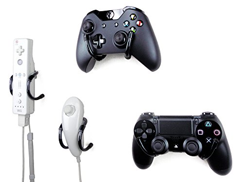 wall-clip-xbox-playstation-wii-and-retro-game-controller-organizer-4-pack-black