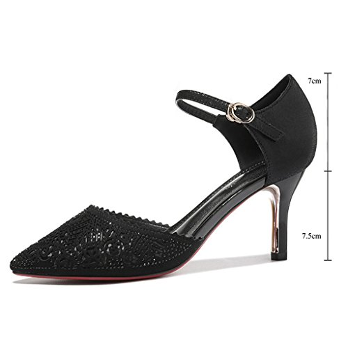 Bling Pointed Toe Dress Meijili Black 01 Women's Shoes Evening Glitter Party Bling Shoes Pump Wedding Rhinestone XtCRqgw