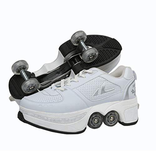 PLMOKN Roller Skates for Women's 4 Wheel Adjustable Quad Roller Skates Boots,2-in-1 Multi-Purpose Shoes,Boys Girls Universal Walking Shoes