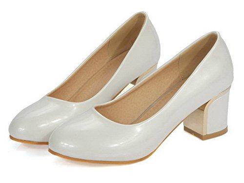VogueZone009 Damen Rund Zehe Ziehen auf PU Leder Rein Niedriger Absatz Pumps Schuhe Weiß