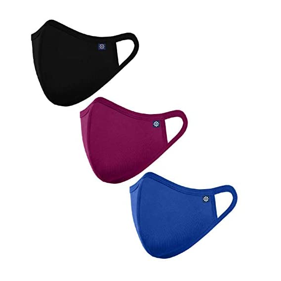 OCEAN RACE Cotton Anti Pollution 3 Layer Reusable Face Mask-Black,Wine,Ind Blue-Pack of (3)
