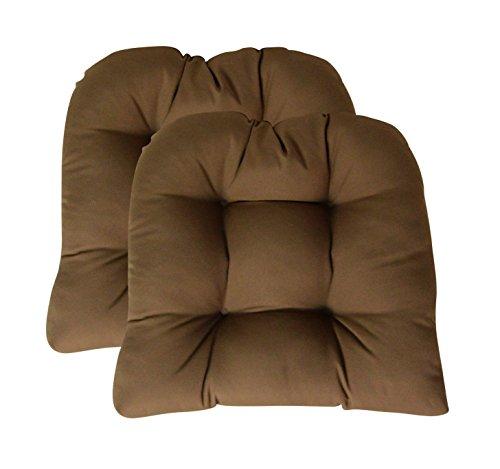 Cushion Chestnut Brown Sunbrella - Sunbrella Canvas Chestnut Large 2 Piece Wicker Chair Cushion Set - Indoor / Outdoor Tufted Wicker Matching Chair Seat Cushions