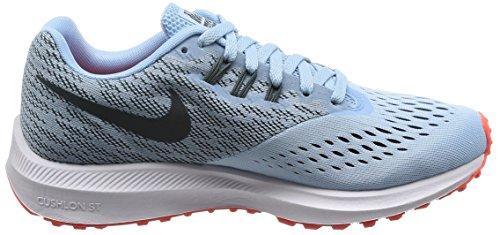 Nike WMNS Zoom Winflo 4, Chaussures de Course Femme Ice Blue/Blue Fox/Bright Crimson/White
