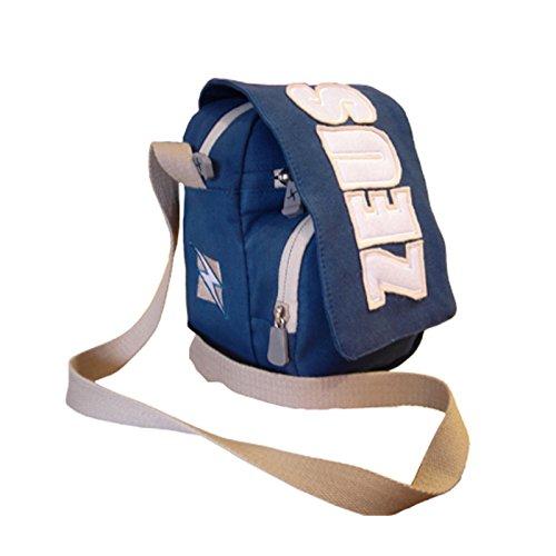 Zeus Bolsa Bandolera para hombre Running Training Fitness Fútbol Sport Bag City 11x20x15 cm (NEGRO-GRIS) AZUL GRIS
