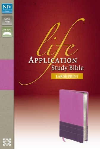 n Study Bible, Second Edition, Large Print, Leathersoft, Purple/Pink, Indexed ()