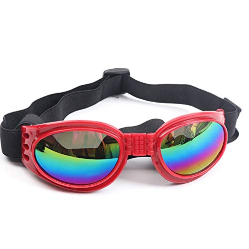 Dog Sunglasses Protective Eyewear Pet Goggles Adjustable Head & Chain Strap Medium to Large Dog (Red)