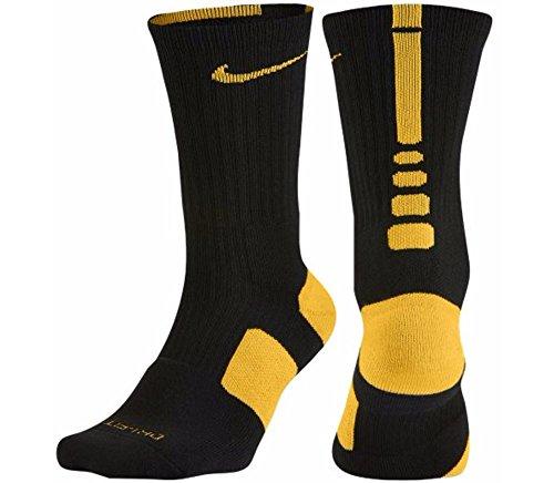 Nike Mens Elite Basketball Socks Large (Size 8-12) Black, Gold Steelers (Gold Socks Elite Nike)